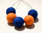 Cozy autumn necklace - Needlefelted beads in Orange and Navy