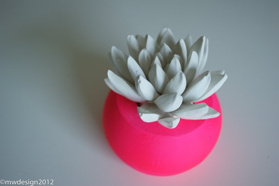 White Succulent Sculpture in Neon Pink Round Container, Desktop Accessory, Tabletop Centerpiece