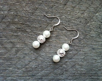 SUMMER SALE Silver White Earrings Glass Pearl on French Wire Hook