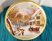 """Truly Classic """"Currier & Ives"""" Winter Scene Lithograph Tin"""