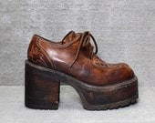 RESERVED     Vtg 70s Brown Leather Wood Monster Platform Lace Up Boots Oxford Shoes 8 8.5 9