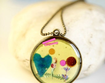 Blue Valentine  - Vintage Style Handmade 30mm Resin Necklace Antique Bronze Plated Steampunk Nerdy Jewelry OOAK by Giftin For Fifteen
