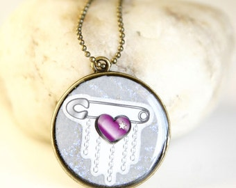 Is Love Safe  - Vintage Style Handmade 30mm Resin Necklace Antique Bronze Plated Steampunk Nerdy Jewelry OOAK by Giftin For Fifteen