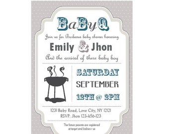 Baby-Q Baby Shower BBQ invitation couples - boy
