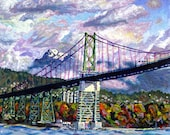 Limited Edition Giclee Canvas PRINT 8x10 - Lion's Gate - Signed Bridge Cloudy Sky Ocean Fine Art