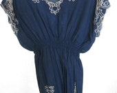 Gorgeous VINTAGE BLOUSE, dark blue color, stunning style & unique. Great to mix and match