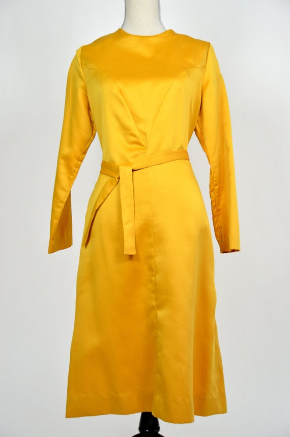 Vintage 1950s Buttercup Sateen Gown with matching Sash