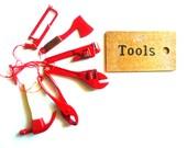 VINTAGE Metal Miniature Tools and Box