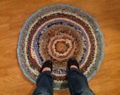 Blue Sky Hand Crocheted Recycled Rag Rug - Blue Colors - Homespun Crochet Rug