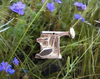 Oilfield Pump Jack Pendant Charm Fine Silver Hand Made in USA  Permian Basin