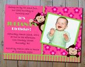 Mod Monkey Birthday Invitation - Girls Pink and Green or Twins Monkey Birthday Party Printable Invitation