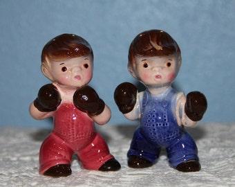 Boxing Boys Salt and Pepper Shaker Set - Put Up Your Dukes - Vintage