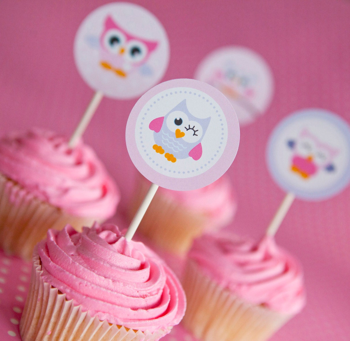 Owl Cupcakes For Baby Shower: Owl Cupcake Toppers Cute Owl Toppers Pink Owl Cupcake