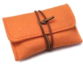 Felt iPhone Case, Felt Sleeve for iPhone3 and iPhone4, Orange Felt with Genuine Leather Cord, iPod Touch Case