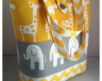 Large Modern Diaper Bag/Tote...Ele Elephants with Stretch Giraffes and Chevron...Grey and Yellow...Can Be Personalized...Shower Chic