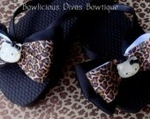 Hello Kitty Leopard Print Black Bow Flip Flops