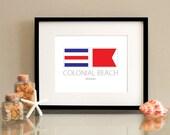 Colonial Beach - Virginia - Nautical Flag Art Print