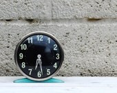 Vintage Alarm Clock Turquoise Blue Jock Clock Retro Homeware