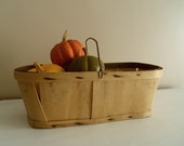 Oblong Wooden Vintage Bread Country Farm Basket Autumn Decor