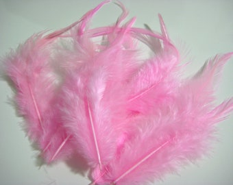 Pink Rooster Hackle Hen Feather Fringe / 20 loose feathers