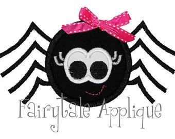Digital Machine Embroidery Design - Girly Halloween Spider Applique