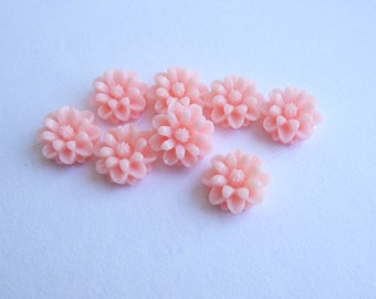 Pink Resin Cabochon 12mm Neon Flat Flower...  8 Pieces