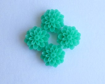 Teal Mums... Resin Cabochons 15mm Flat Back Wild Flower...  5 Pieces