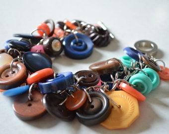 Handmade Vintage Button Bracelet SB38 sunset beach