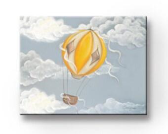 Art For Children Nursery Art, Boys Room Wall Decor ,Yellow Hot Air Balloon Canvas Art for Children,