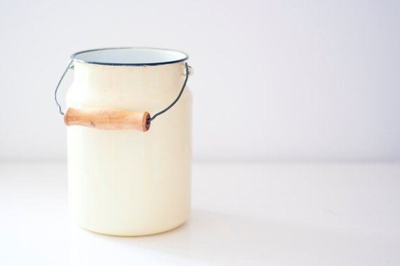 Vintage Enamel Milk Can - pastel yellow