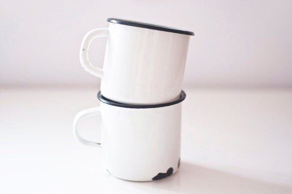 Vintage Enamel Mugs - set of 2 - white - made in Soviet Union