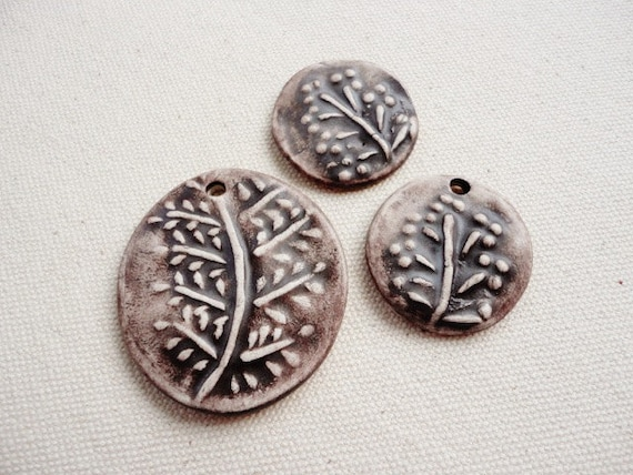 Set of 3 Ceramic Pendant, Cabochon, Chocolate Brown, Rustic Style, Oval, Round, Botanical Theme, Necklace, Ring, Jewelry Making Supply
