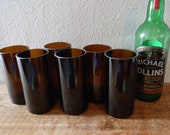 Recycled Wine Bottle Glasses in Amber Set of 6