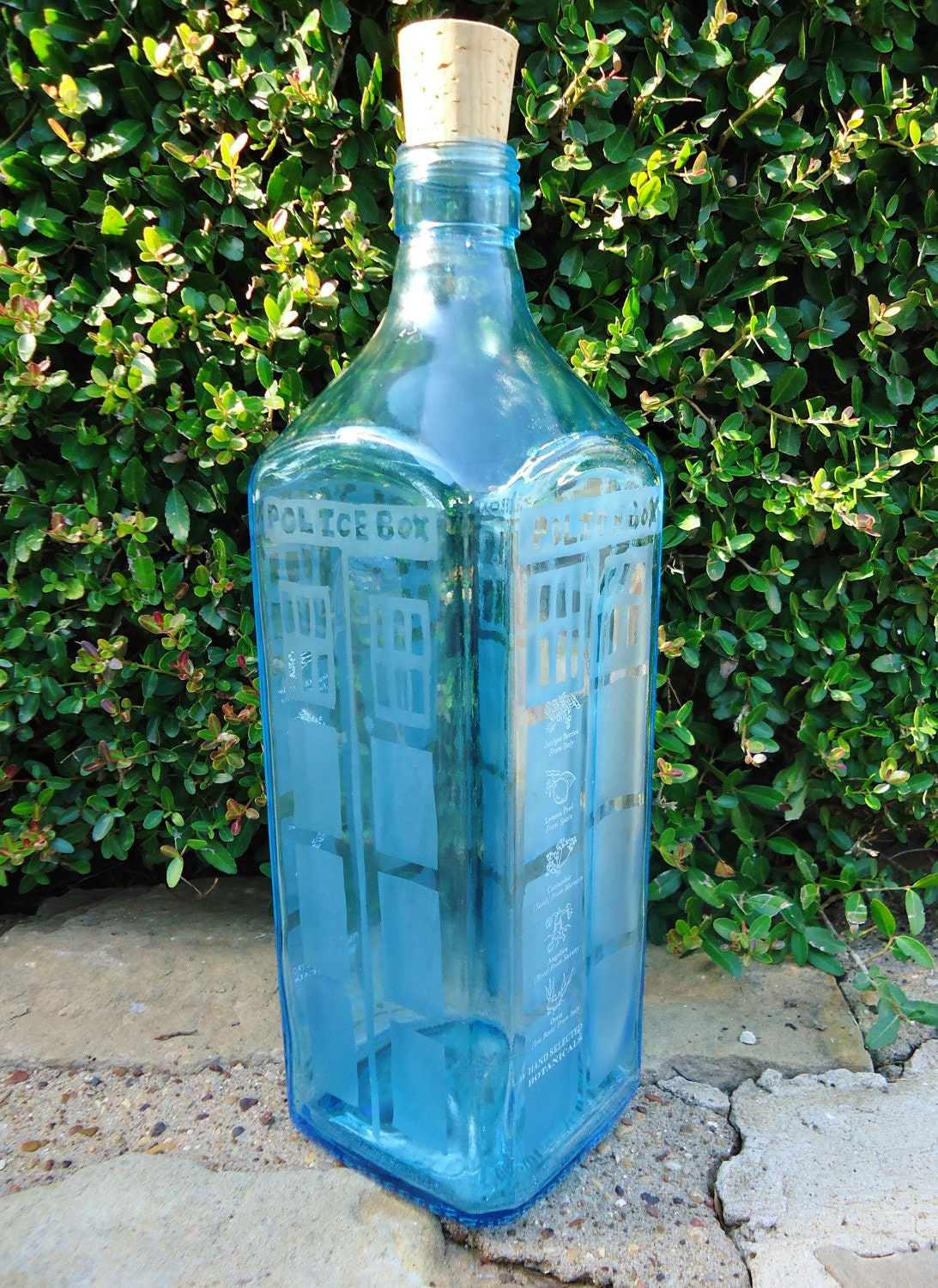Dr Who Tardis Hand Etched Bottle From A Bombay Sapphire Gin