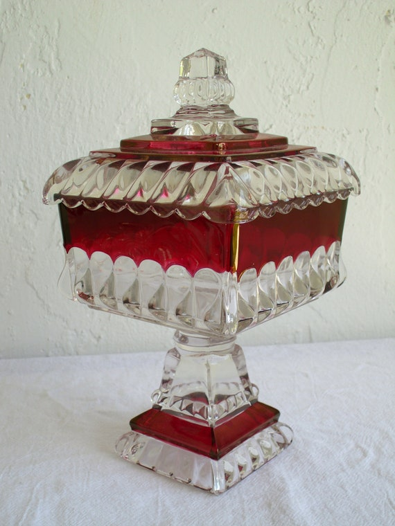 Westmoreland Ruby Flash Glass Wedding Compote Candy Dish w/ Lid