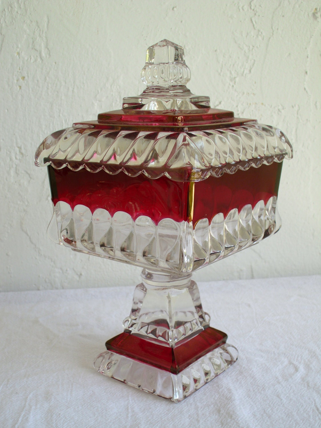 Westmoreland Ruby Flash Glass Wedding Compote Candy Dish W