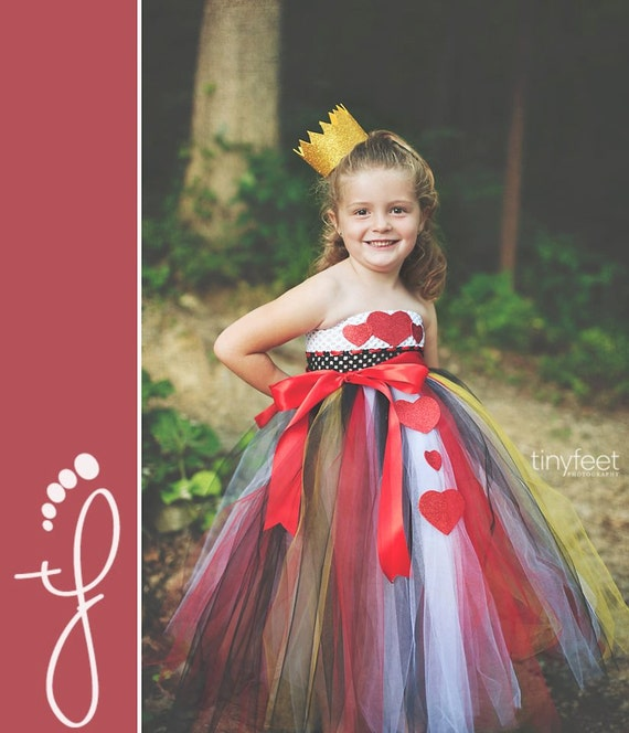 Queen of Hearts Costume, Queen of Hearts Tutu Dress, Heart Dress, Outfit of Choice, Alice in Wonderland, 6m, 9m, 12m, 18m, 24m