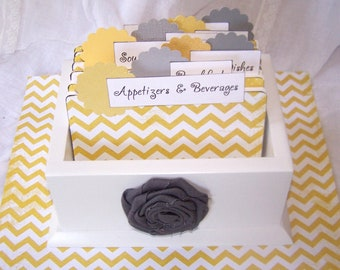 RECIPE BOX, Dividers, Recipe Cards, Yellow and White Chevron, Polka Dots, White Box, Custom Colors