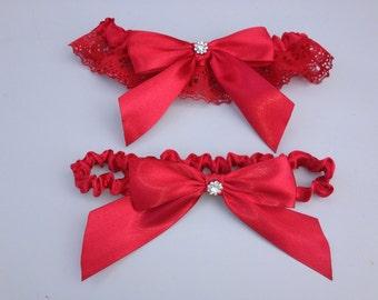 Red Wedding Garter - Beautiful Bridal Scarlet Red Satin Garter Set ... with Rhinestone details...