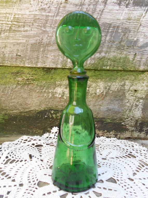 Vintage Unique Green Glass Lady Bottle With By Cottoncreekcottage