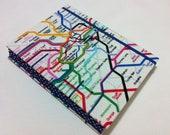 Handmade Fabric Journal Notebook - Coptic Stitched - London Subway