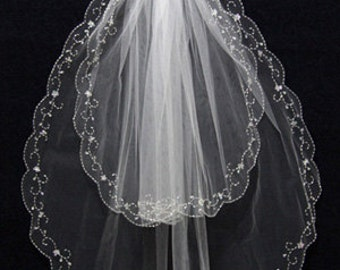 2 Layer Handworked Beaded Edge Wedding Veil 2012, White Wedding Veil, Ivory Wedding Veil