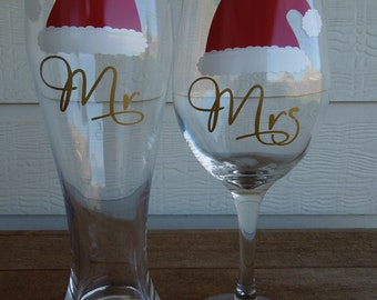 CHRISTMAS Mr and Mrs Wine Glass and Pilsner - Wedding, Shower, Anniversary, Housewarming Gift