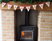 Christmas bunting decoration holiday ceramic bunting Red and white. Ho, ho, ho with gingerbread men