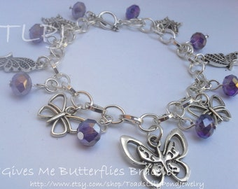 purple butterfly bracelet, purple butterfly charm bracelet