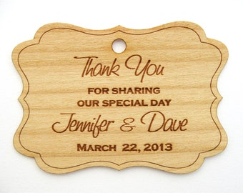 Thank You Tags (50) / Wedding Favor Tags / Wooden Tags / Gift Tags / Shower Favor Tags / Labels Hang Tags  - Wood Personalize