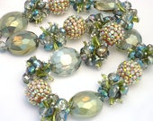 Chinese Crystal Beads Designer Glass Faceted Oval Beads in Blue and Green with FREE Crystal Beads