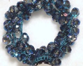 Ultramarine Blue Crystal Wrap Crocheted Necklace or Bracelet with Silver Button Closure