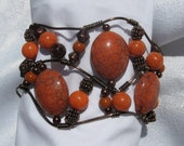 Freeform Bronze Wire and Burnt Orange Beaded Cuff Bracelet