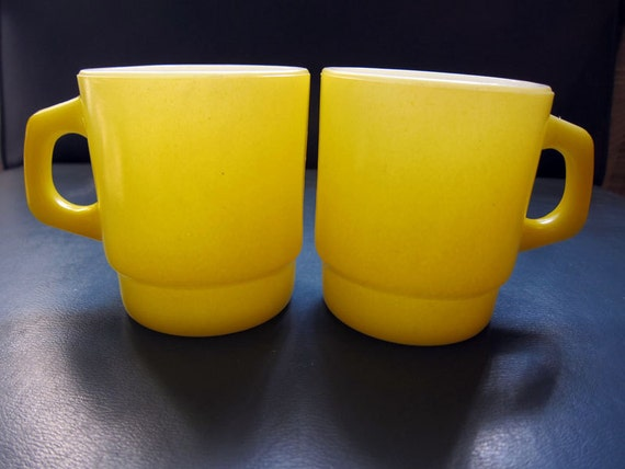 RESERVED FOR DREW - Anchor Hocking Fire King - Fire King Mug - Fire King Cup - Yellow Mug - Retro Mug - MidCentury - Mid-Century